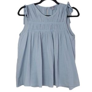 Aerie Sleeveless Pullover Cotton Blouse Blue XS